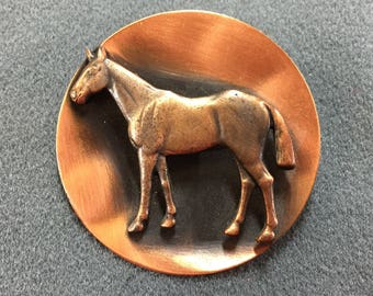 Big Copper Mid Century Horse Brooch-Cool!  Free shipping