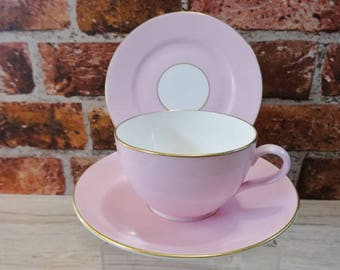 Shelley Candy Pink & Gold Trio cup saucer side plate