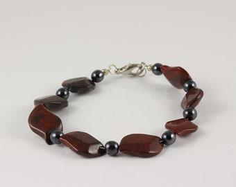 Red Jasper Bracelet, Jasper Bracelet, Jasper and Hematite Necklace, Red Jasper Jewelry, Jasper Jewelry