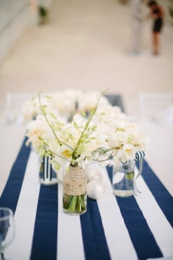 Wedding Sale! Navy And White Stripe Table Runners. WQeddings, Birthdays,  Baby Shower