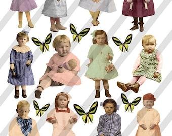 Digital Collage Sheet Children (Sheet no. F23) Instant Download