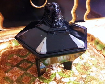 Dermay / Taussaunt Sphinx Black Glass Footed Powder Jar Art Deco Era Black Hexagon Shape Cartier Company