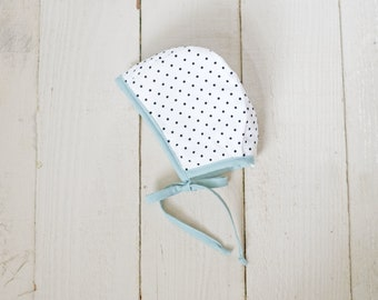 Polka Dot Bonnet with teal Trim; Baby Bonnet; Toddler Bonnet
