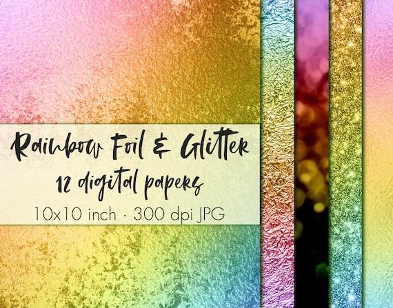 Rainbow Foil And Glitter Digital Paper Papers Clipart Wallpaper Metallic Pack From PixelJungle On