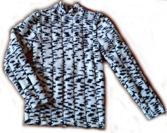 Pullover tunic, black and white 1 year/12 months