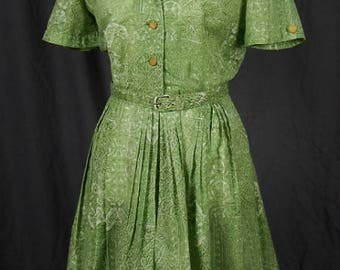 Vintage 1950s/1960s Nelly Don Summer Day Dress with Full Skirt and Matching Belt