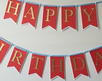 Red Happy Birthday Banner, Glitter Birthday Banner, Red Banner, Happy Birthday Banner, Gold Banner,