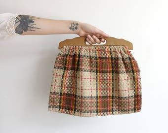 Vintage 40s 50s Plaid Tapestry Bag with Wooden Handles/ Sewing Bag/ Fabric Handbag