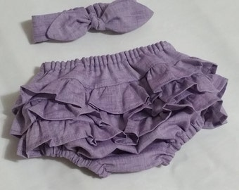 Ruffle Diaper Cover, lavender chambray diaper cover, Baby girl diaper cover, Infant diaper cover, Spring, Toddler diaper cover