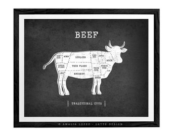 Traditional butcher print Butcher poster beef diagram butcher diagram meat cuts kitchen print beef print butcher cuts chart foodie gift