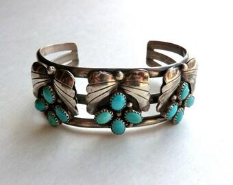 Vintage Turquoise Sterling Cuff Bracelet Boho Fashion Southwest Bracelet