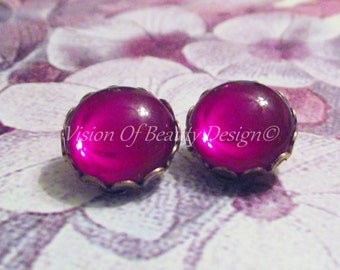 Vintage Siam Ruby Red Clip On Earrings