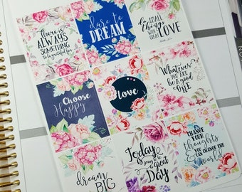 Inspirational/ motivational quote boxes   Stickers for Erin Condren planner (#QB09)