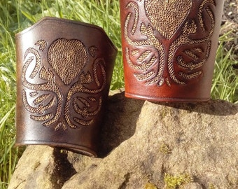 Cthulhu Carved Leather Cuff