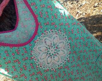 Vintage Style V Neck Over the Shoulder Aqua Floral Full Woman's Apron