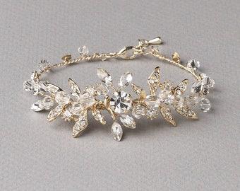 Gold Floral Bracelet, Gold Rhinestone Bracelet, Gold Bridal Jewelry, Floral Bridal Bracelet, Gold Bracelet, Gold Wedding Bracelet ~JB-4835