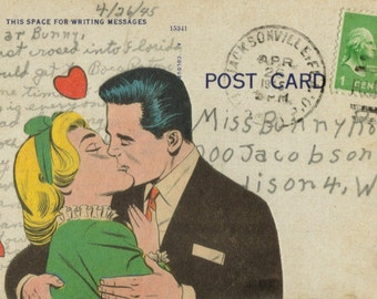 Original Collage, Sealed With a Kiss Art, Kissing Artwork, Comic Romance, Romantic Love, SWAK