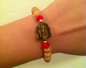 Buddha head bracelet. Tiger eye buddha head bracelet. Buddha head wood bracelet. Tigereye