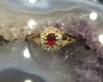 Old Cut Diamond and Red Spinel Cluster Ring