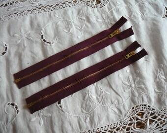 vintage Burgundy 21cm metal zipper