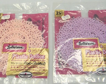 Two Sets of Four Lustro-Ware Doilies in Original Packaging