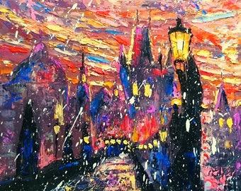 Mysterious Prague; Original palette knife oil painting; framed