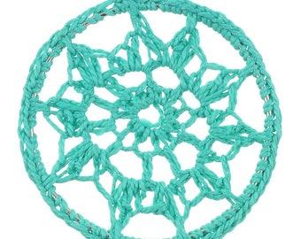 x 1 connector pendant dream catcher green crochet.