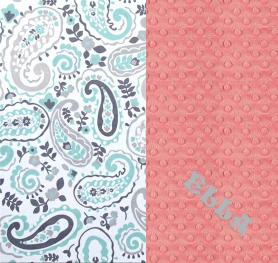Paisley Personalized Baby Blanket, Minky Baby Blanket Girl, Gray Mint Coral, Nursery Decor, Coral Baby Blanket, Name Baby Blanket, Baby Gift