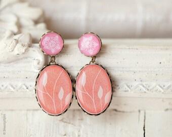 Coral earrings, Mothers day gift, Pastel jewellery, Bridesmaid earrings, Pastel earrings, Pink Earrings, Peach earrings, Flower earrings