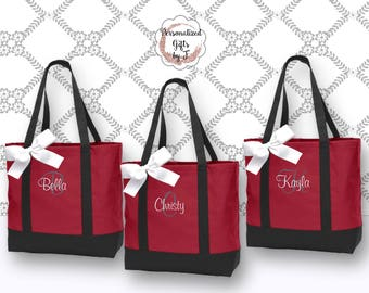 Set of 1, 2, 3, 4, 5, 6, 7, 8  Bridesmaid Tote, Personalized Bridesmaid Gift Tote Bag Personalized Tote, Bridesmaids Gift, Monogrammed Tote
