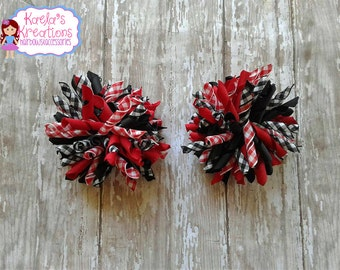 Red and Black Plaid  Korker Hair Bows,Red and Black Corker Hair Bows,Plaid Korker Hair Bows,Black and Red Curly Ribbon Hair Bows,Korker Bows