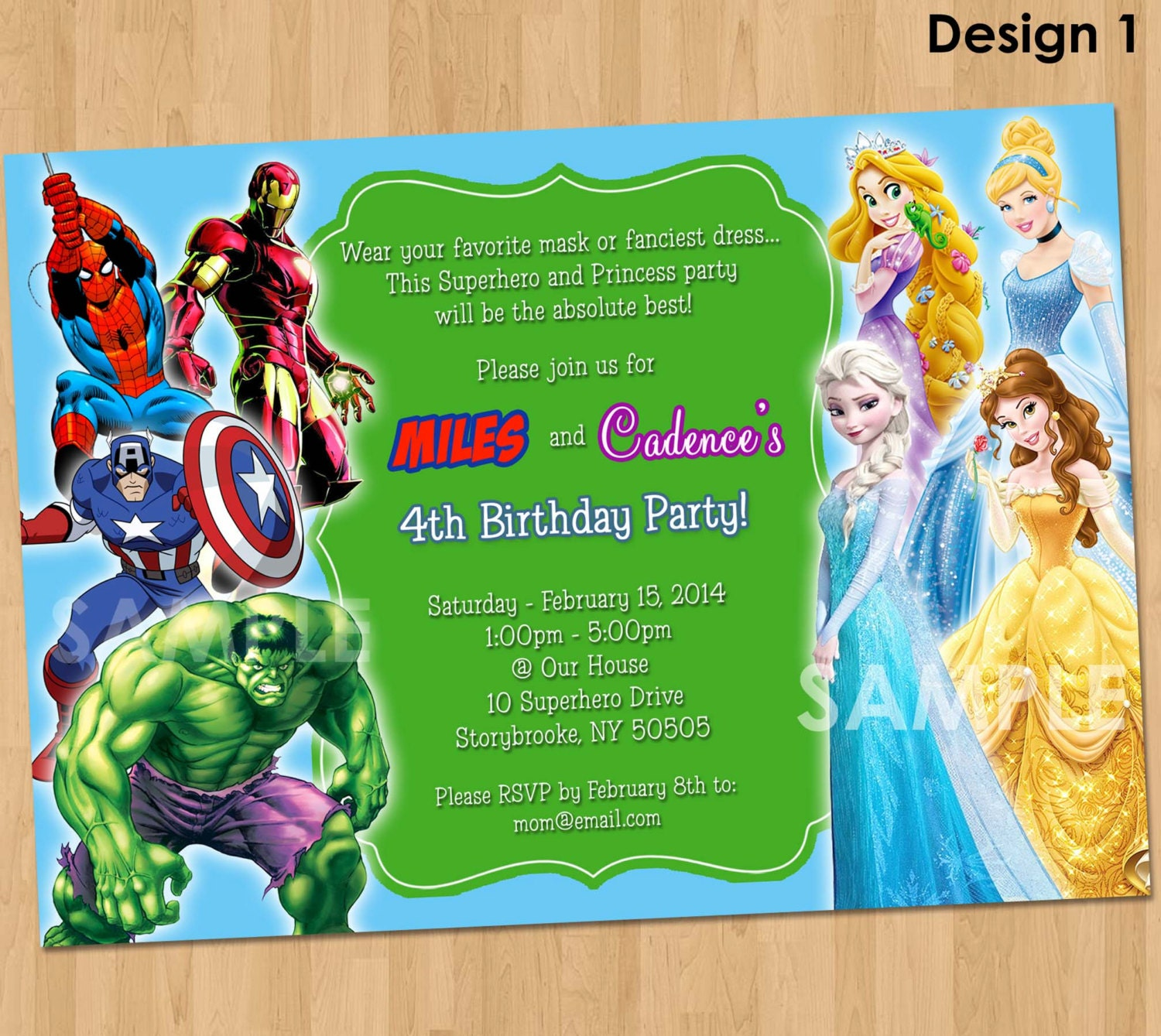 Double Party Invitation Superheroes and Princesses