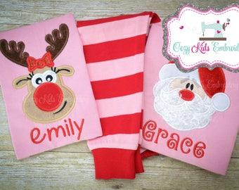 Christmas Pajamas, Childrens Christmas Pajamas, Girl Christmas Pajamas, Family Christmas Pajamas, Santa Reindeer Applique Embroidery