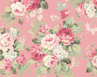 RURU Bouquet Rose For You  Cotton Fabric Quilt Gate RU2220-13B Rose Bouquet on Pink