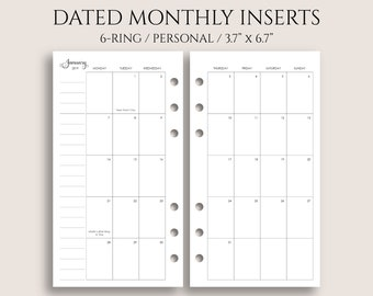 """July 2018 - Dec 2019 Dated Monthly Calendar Planner Inserts, Monday Start, MO2P ~ Personal Rings / 3.7"""" x 6.7"""" for Filofax (P-MMS)"""