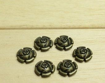 20pcs 15mm Bronze Rose Rivet goujons, goujons Rivets en forme de Rose, Bronze Rose fleur Rivet boucles d'oreilles, clous de vêtements, sacs de clous, clous chapeau, chaussures boucles d'oreilles