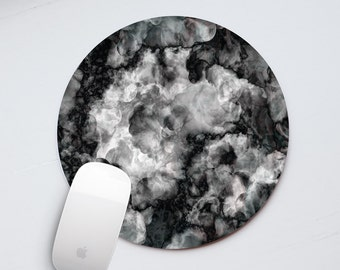 Smoke Mouse Pad Marble Mousepad Office Desk Accessories Round Mousemat Rectangular Mouse Mat Personalized Mouse Pad Black Marble PP5011