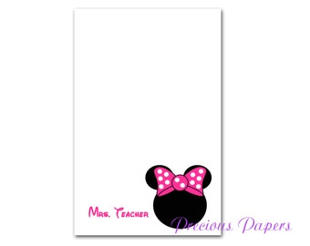 Personalized Minnie Mouse note pads Personalized Minnie Mouse gift Personalized Minnie Mouse notepads