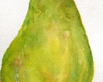 Pear Watercolors Paintings Original,  Green Pear, leaf original watercolor painting, 4 x 6 small pear art, pear kitchen decor, illustration
