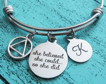 aa recovery gift, sobriety bracelet, addiction recovery jewelry, she believed she could, sober gift for her, alcoholic anonymous anniversary