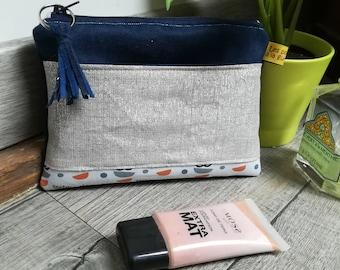 """Silver & blue"" suede pouch"