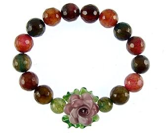 Gemstone Bracelet with Lampwork Flower, Agate Bracelet, Gemstone Jewelry, Stretch Floral Statement Bracelet, Muliticolor Beaded Bracelet