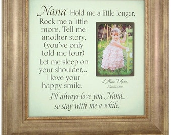 Mothers Day Gift, Grandma Gift, Grandparents Gifts, Grandma Frame, Picture Frame, Hold Me A Little Longer, Grandmother Gift, 16x16