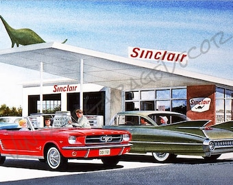 Sinclair Gas Station - Mustang and Cadillac Reproduction Garage Shop Sign  - Jack Schmitt Artwork on Metal Sign