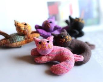 10 Cat pin brooches, Cat brooch fabric, Animal brooch
