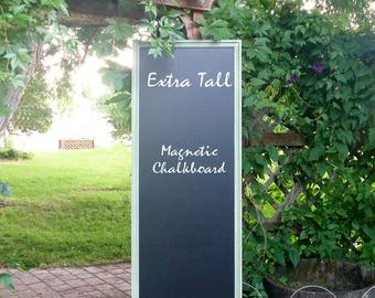 Extra Large Tall Magnetic Chalkboard Moss Green Framed Magnetic Board - Chalk Board - Green Vintage Style Chalkboard 70 x 23 inches