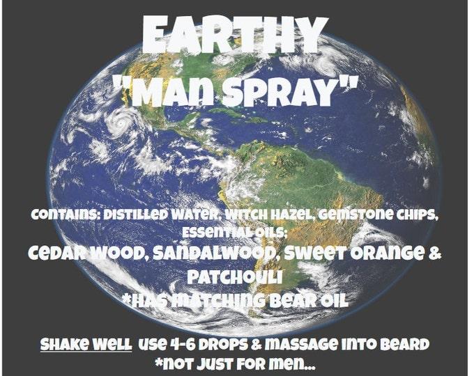 "Earthy ""Man Spray"" Essential oils Cedarwood Sandalwood Sweet Orange Patchouli & Gemstone Chips Not just for Men!"