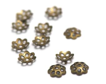 100 bead caps filigree 6 x 1 mm, bronze