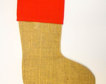 SALE**Jute Red Christmas Stocking (Monogram NOT included)