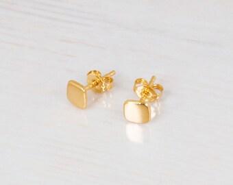 Square Stud Earrings, Tiny Gold Stud Earrings, Geometric Earrings, Dainty Studs, Delicate Gold Earrings, Small Earrings, Silver, Rose Gold